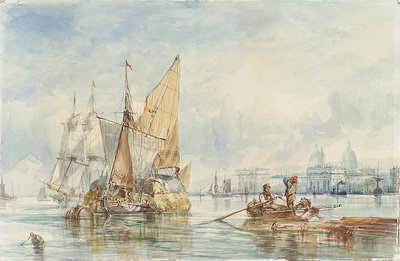 A hay barge off Greenwich by George Chambers Sr - print
