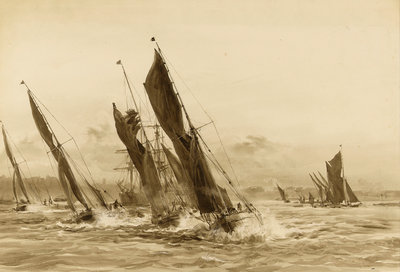 Barge match on the Thames by William Lionel Wyllie - print