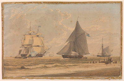 Royal Navy sailing vessel by the shore by unknown - print