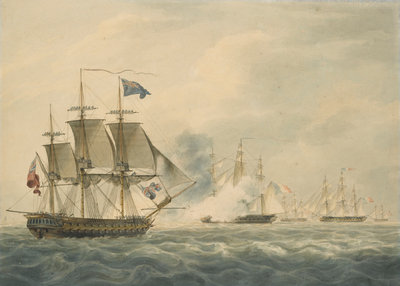 HMS 'Majestic' bearing down to attack the 'Terpsichore' and 'Atalante' 3 February 1814 by W. Anderson - print