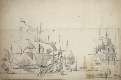 Dutch fighting ships drying sails by Willem van de Velde the Elder - print