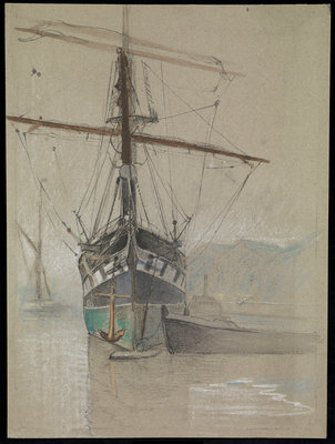 Bow view of 'Cutty Sark' (1869) as she appeared on her arrival in the Surrey Commercial Dock in 1921, with painted ports by John Everett - print