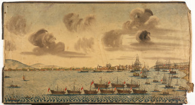 18th century British dockyard and harbour by unknown - print