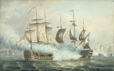 Action between the 'Victory' and the 'Bucentaur', possibly at Trafalgar by unknown - print