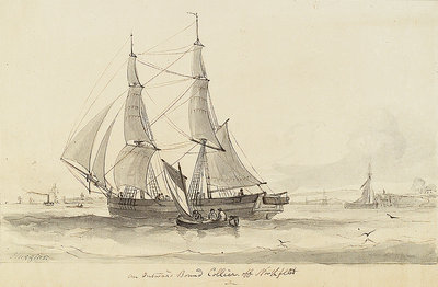 View of an outward bound collier off Northfleet and small single sail vessel by William John Huggins - print