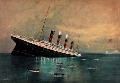 Atlantic liner 'Titanic' (Br, 1912) sinking, bow first, 1912, with eight full lifeboats nearby and an iceberg in the distance by W. Pearson - print