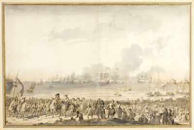 Disembarkation of William III at l' Orange Polder, 1691 by Ludolf Bakhuizen - print