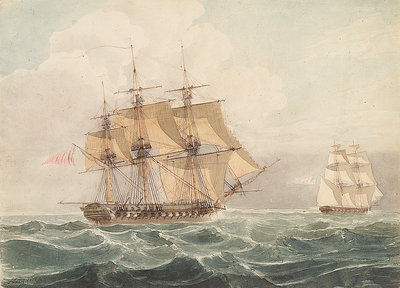 American brig chased by British frigate by William John Huggins - print