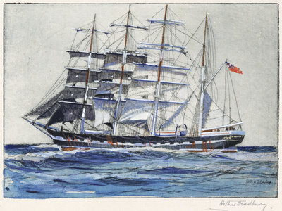 Pinmore square-rigged sailing vessel at sea by Arthur Bradbury - print