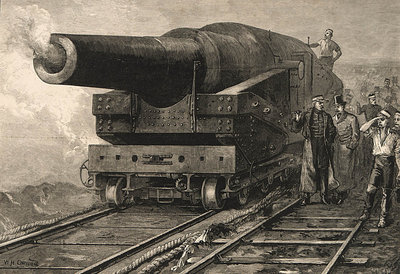 Firing the eighty-one ton gun at Shoeburyness by William Heysham Overend - print