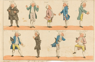 Nine caricature figures in 18th century costume by Henry William Bunbury - print