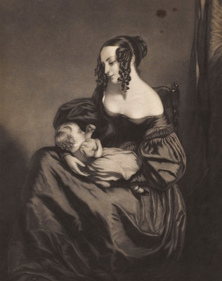 Young woman seated with a child on her lap by unknown - print
