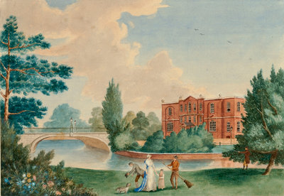 View of Merton House showing Lady Hamilton and Horatia in the grounds by unknown - print