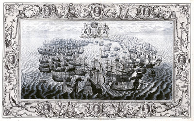 Armada 1588. The action off the Isle of Wight, 25 July 1588 by C. Lempriere - print