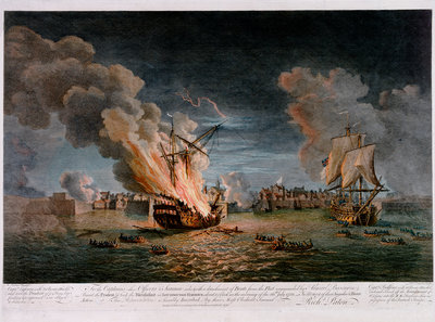 To the Captains other officers & seamen who with a detachment of Boats from the Fleet... Burnt the Prudent and took the Bienfaisant in Louisburgh Harbour... 26th July, 1758 by Richard Paton - print