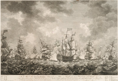 The defeat of the French fleet off Belle-Isle on the 20 November 1759 by Richard Paton - print