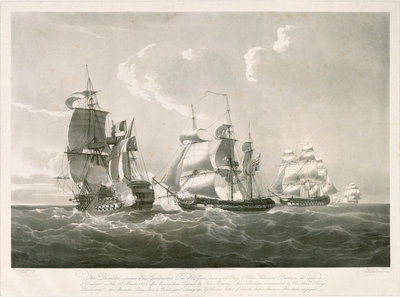 Engagement between the 'Guillaume Tel' and HMS 'Penelope', 30 March 1800 by Nicholas Pocock - print