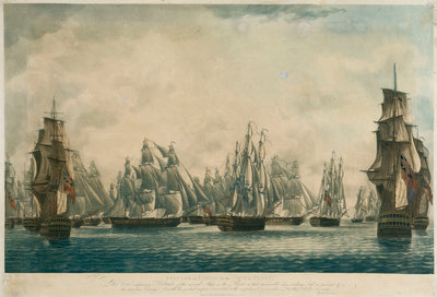Repulse of Linois by the China Fleet... Ships in the Fleet making Sail in pursuit if the retreating Enemy, 15 Feb 1804 by Robert Dodd - print