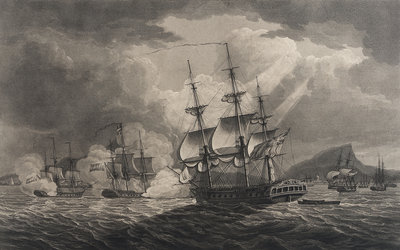 Captain Pellew of the 'Phaeton' attacking two Dutch frigates by Nicholas Pocock - print