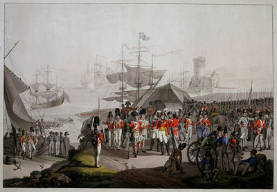 Wellington landing in 1809 at Lisbon to take command in the Peninsular War by unknown - print