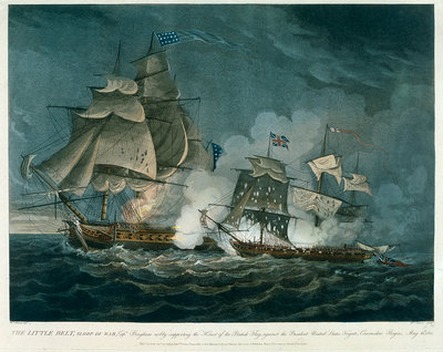 Sloop of war 'Little Belt' in action by William Elmes - print