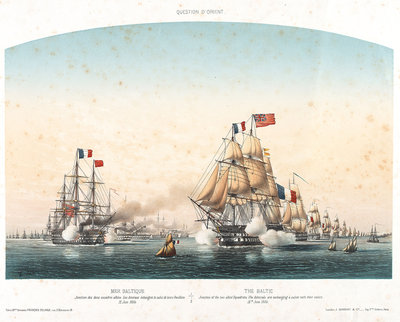The Baltic. Junction of the two allied squadrons. The Admirals are exchanging a salute with their colours, 12 June 1854 by Louis Le Breton - print