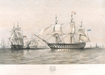 The English and French fleets in the Baltic, 1854 by Oswald Walter Brierly - print
