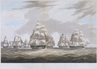 The East India Company's ship 'Inglis' leaving St Helena, in July 1830 by William John Huggins - print