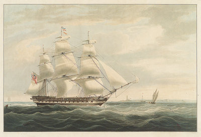 The 'Thomas Coutts' entering Bombay in 1826 during her second voyage by William John Huggins - print