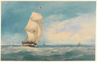 Watercolour of 'Medway' off Deal by unknown - print