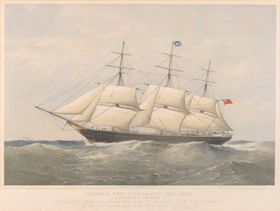 Lithograph of clipper ship 'Coonatto' (1863) by Thomas Goldsworth Dutton - print
