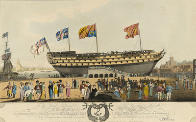 The launch of the 'Nelson' (Br, 1814) by John Thomas Serres - print