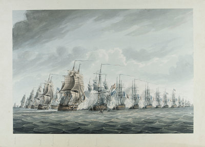 Battle of the Nile, 1 August 1798 by Thomas Buttersworth - print