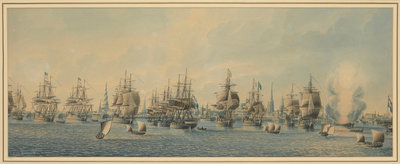 Admiral Gambier's action off Copenhagen, 1807 by Thomas Buttersworth - print