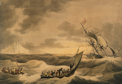 Loss of the Lady Hobart packet boat, also two lifeboat with survivors by John Thomas Serres - print