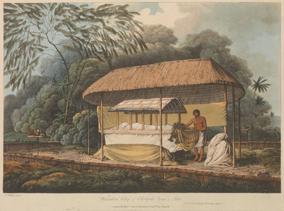 Views in the South Seas... Waheiadooa, Chief of Oheitepeha, lying in state by John Webber - print