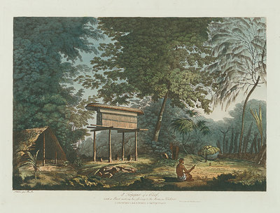 A Toopapaoo of a Chief, with a Priest making his offering to the Morai, in Huoheine by John Webber - print