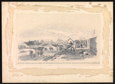 2. Capture of Ninpo: storming party under Liet. Davis holding a gateway between the Salt and East Gates; death of Lieut Cornwall, RN by MJ - print