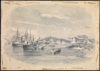 4. Vessels on a river at Ningpo by SSE - print