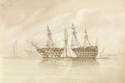 HMS 'Trafalgar' off Sheerness, from the 'Shannon', 28 December 1850 by George Pechell Mends - print
