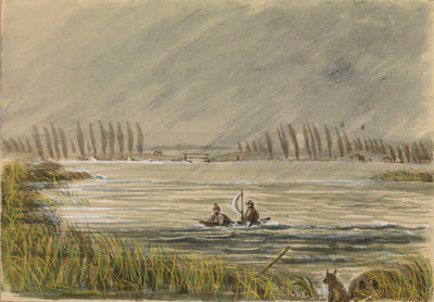 Snipe shooting at Abbeville, Adrift with Colin Joss? by Harry Edmund Edgell - print