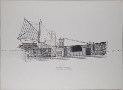 The 'Formidable', section drawing showing internal layout of a drifter by Edward J. Frost - print