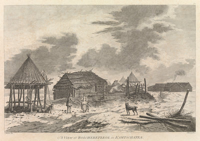 A view of Bolcheretzkoi in Kamtschatka by John Webber - print