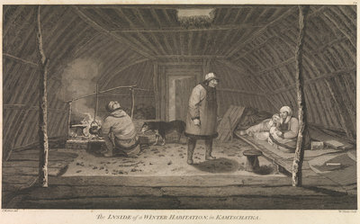 The inside of a winter habitation in Kamtschatka Fine Art Print by John Webber