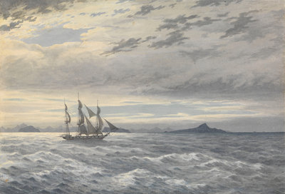 HMS 'Daphne' off Cape Horn, 28 May 1852 by Edward Gennys Fanshawe - print