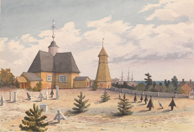 Church and Belfry at Hogland, Augt 24th 1855 [Finland] by Edward Gennys Fanshawe - print