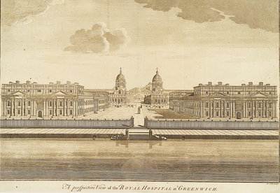 A Perspective View of the Royal Hospital at Greenwich by Benjamin Cole - print