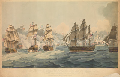 Engagement with the combined French and Spanish fleets off Cape Trafalgar, on the 21 October 1805 by John Thomas Serres - print
