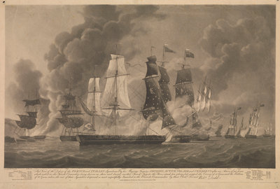 Defeat of the French and Italian squadron, March 1811 by Robert Dodd - print