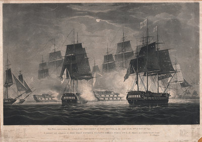 This Print, representing the Defeat of the Squadron of Don Miguel, on the night of the 10th of Octr off Vigo. Is dedicated...to Her Most Faithful Majesty, Donna Maria 2nd... by William John Huggins - print